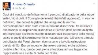 Il post sulla bacheca del ministro Orlandi.