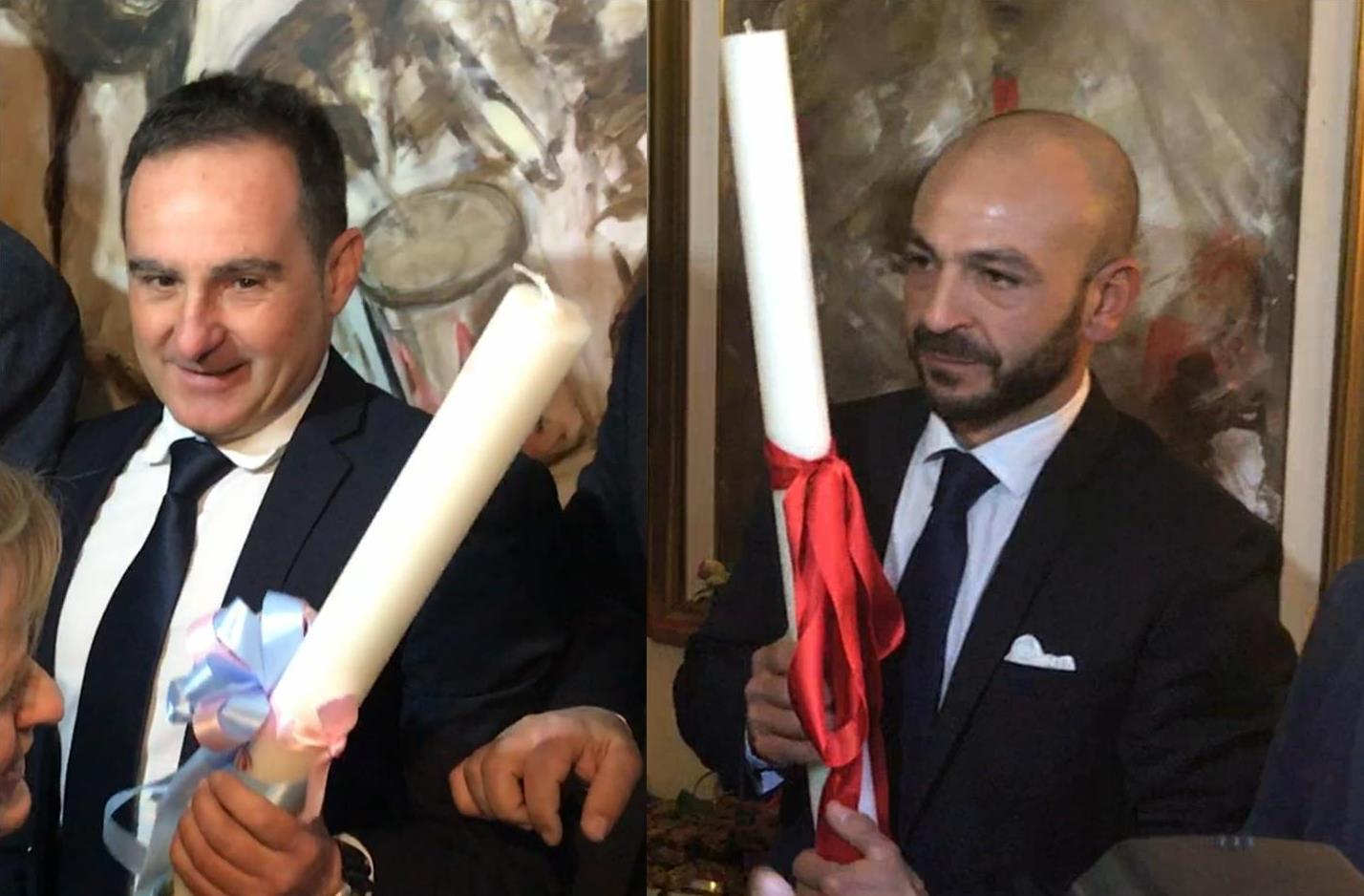 Giuseppe Sedda e Sergio Ledda con i ceri benedetti I componidoris della Sartiglia 2017 ( www.sartiglia.info )