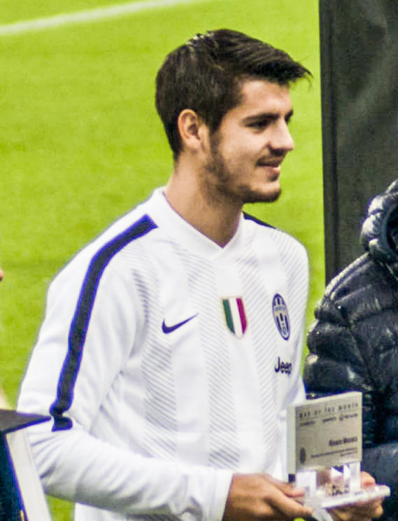 Alvaro Morata, fonte By Photo by Leandro Ceruti from Rosta, ItaliaCropped by Sefer azeri - Juventus - Parma (original photo), CC BY-SA 2.0, https://commons.wikimedia.org/w/index.php?curid=44154981