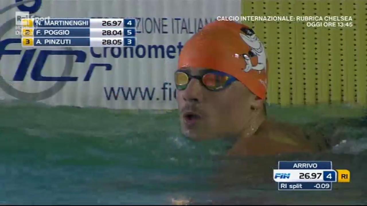 Assoluti di Nuoto 2017. Martinenghi nella sessione dei 50 Stile Rana (YouTube.com)