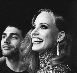 Jessica Chastain e Xavier Dolan sul set, font Xavier Dolan's Instagram profile