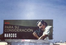 Cartellone pubblicitario della serie TV Narcos