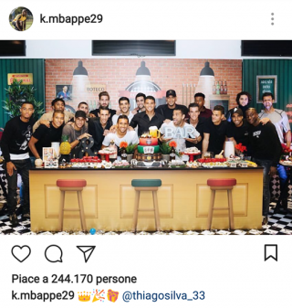 Foti di Mbappé sul proprio profilo Instagram