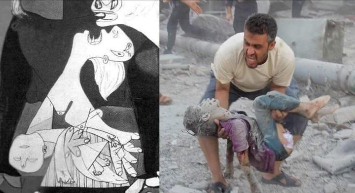 Particolare di Guernica e Guerra ad Aleppo - Fonti: ARTIUM e IlTempo