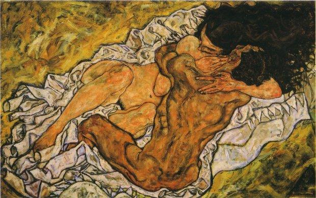 Egon Schiele, L'abbraccio, 1917, Österreichische Galerie, Vienna. Fonte: RestaurArs