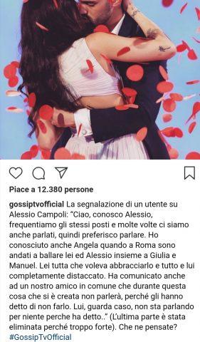 La segnalazione su Alessio Campoli. Fonte: Instagram