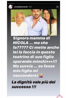 Ursula Bennardo attacca la mamma di Nicola Vivarelli. Fonte: Pinkladies